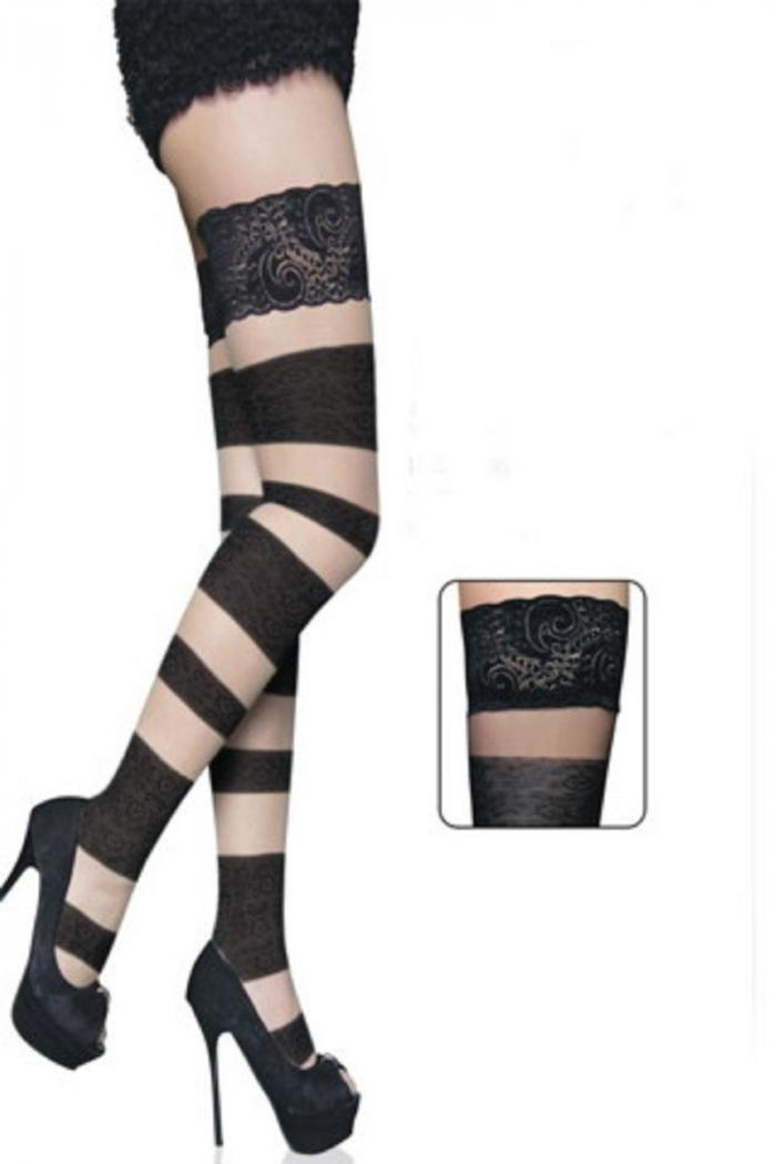 a0a21783ef4 Black bandage stockings with black mesh inserts