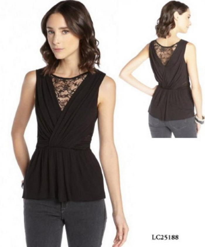 b9055eb2ab2 Black crossover peplum top with lace inserts